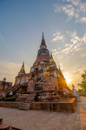 The Pagoda and Buddha Status at Wat Yai Chaimongkol, Ayutthaya, Thailand