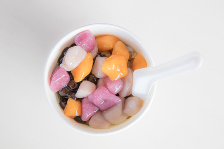 sweet Taiwan dessert mixed topping in white bowl