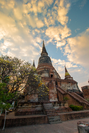 The Pagoda and Buddha Status at Wat Yai Chaimongkol, Ayutthaya, Thailand
