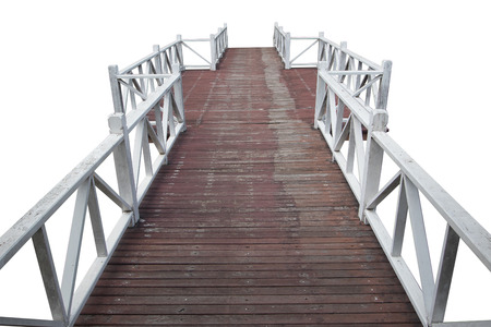 wooden footbridge isolated on am  isolated white background 版權商用圖片