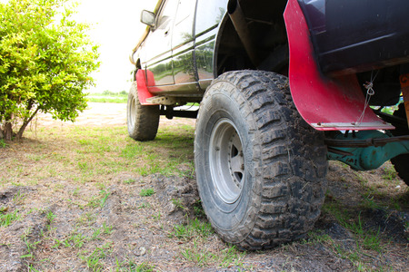 Close-up of 4x4 off-road vehicle tire Stock Photo