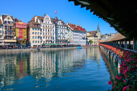 Lucerne, Switzerland - Oct 18, 2018: View of Chapel bridge on lake Luzern in Luzern, Switzerland