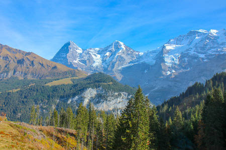 Morning view on Bernese range on beautiful village in mountain scenery, Grindelwald, Berner Oberland, Canton of Bern, Switzerland 版權商用圖片