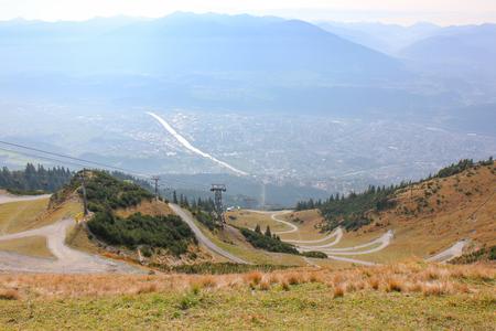 View of Innsbruck aerial view from Hafelekarspitze mountain. Innsbruck from the top. Austria landmark, Tirol, Austria