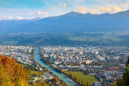 Wide angle aerial panorama of most popular Austrian city and capital of Innsbruck, Austria