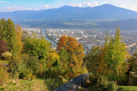 Hungerburgbahn with wagon funicular in Innsbruck, Austria 版權商用圖片