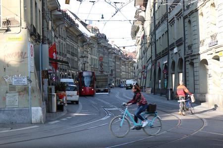 Bern, Switzerland - Oct 17 2018 : Tourists are walking to the Beautiful view of  Bern, Switzerland.