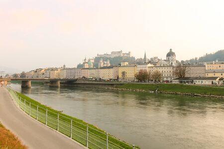 Beautiful view of Salzburg with Festung Hohensalzburg and Salzach river in summer, Salzburger Land, Austria 版權商用圖片