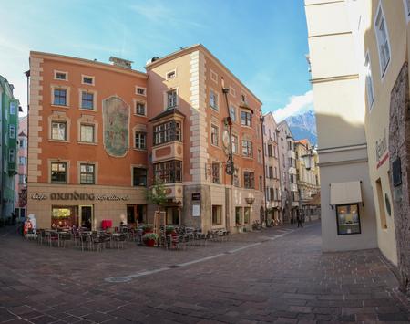 Innsbruck, Austria - Oct, 18 2018: Beautiful architecture in city center of Innsbruck, Austria Redakční