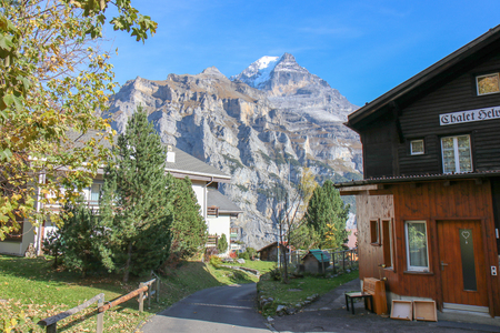 Beautiful view of alpine Eiger village. Picturesque and gorgeous scene. Popular tourist attraction. Location place Swiss alps, Grindelwald valley in the Bernese Oberland, Switzerland