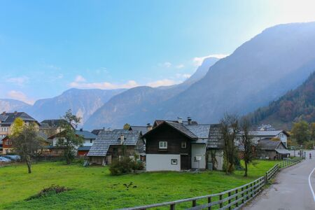A view from the Buildings and nature of hallstatt, austria Stock Photo