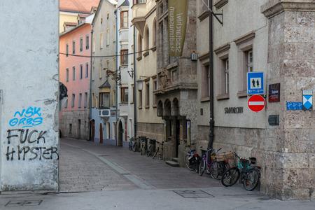 Innsbruck, Austria - Oct 18, 2018 : A view along of the city of Innsbruck at Austria 新聞圖片