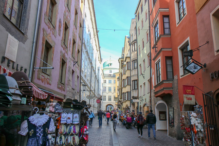 Beautiful architecture in city center of Innsbruck, Austria