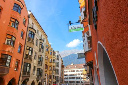 Innsbruck, Austria - Oct, 18 2018: Beautiful architecture in city center of Innsbruck, Austria 新聞圖片