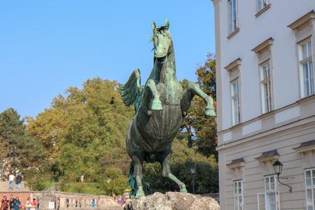 Salzburg, Austria - 20 Oct 2018: Pegasus sculpture in the mirabellen garden in Salzburg, Austria