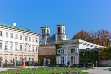 SALZBURG, AUSTRIA -Oct 20, 2018: view of famous Mirabell Gardens with the old historic Fortress Hohensalzburg. Editorial