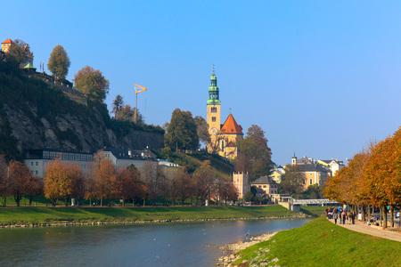 Beautiful view of Salzburg with Festung Hohensalzburg and Salzach river in summer, Salzburger Land, Austria 新聞圖片