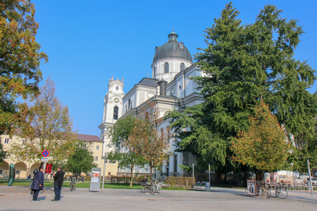 SALZBURG, AUSTRIA -Oct 20, 2018:  Beautiful view of historic city center on a sunny day. SALZBURG, AUSTRIA