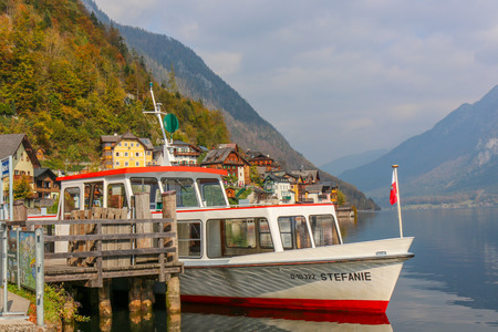 hallstatt, austria - Oct 20 2018 : The Boat Travel Cruise, Prepare to Sail with Lake of hallstatt, austria