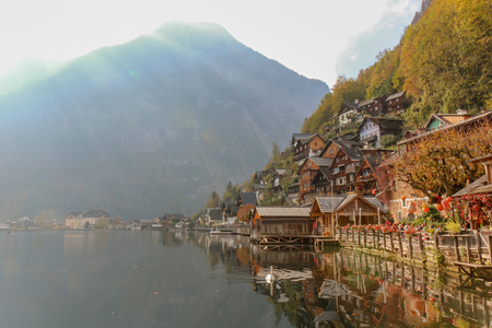A view from the Buildings and nature of hallstatt, austria Editorial
