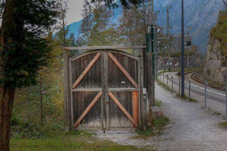 The Rustic barn doors wooden on outdoor