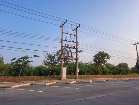 The electric pole and electric transformer for factory.