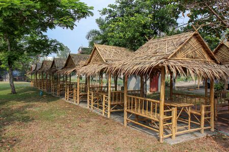 resting huts constructed from bamboo and thatched roofs for relaxing.