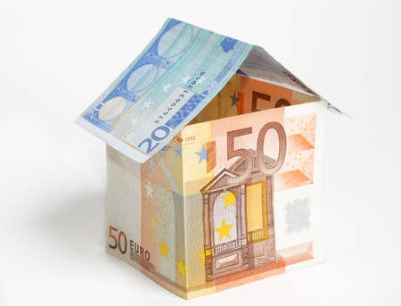 A house made from euro bills Stock Photo