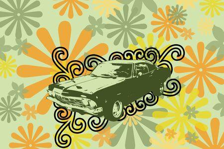 old timer: illustration of old timer car. Old retro car concept