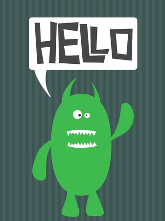 beast creature: Illustration of a monster saying hello Stock Photo
