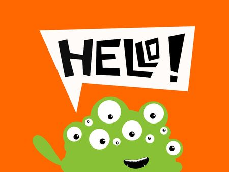 Illustration of a monster saying hello illustration
