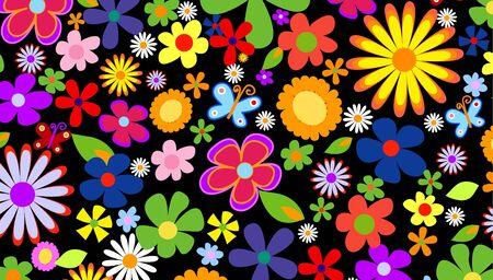 Spring flowers on black background