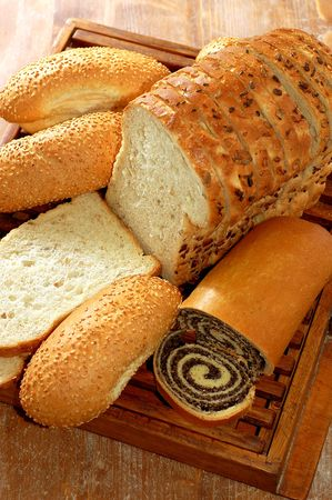 sustenance: assortment of baked bread and other bakery products