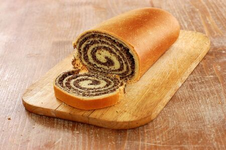 life loaf: still life of poppy bread loaf in kitchen Stock Photo