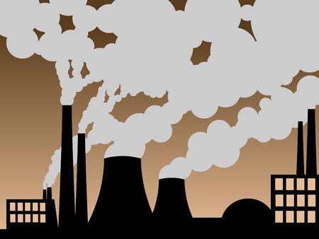 wektor ilustracją fabryki odbijanie się zanieczyszczeń