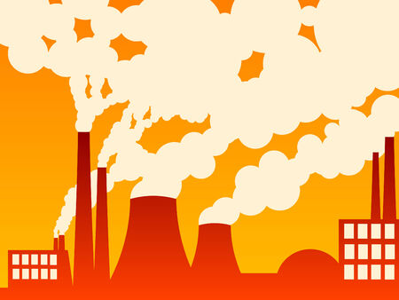 vector illustration of a factory belching out pollution Stock Vector - 2826216