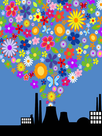 Factory with colorful flower smoke. Vector art Vector