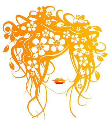 nude female: Beautiful girl with flowers in hair vector illustration