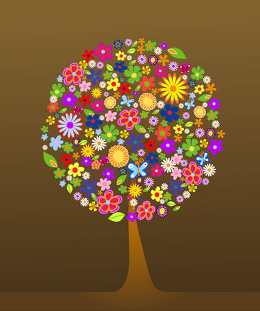 Colorful tree with flowers vector illustration Stock Vector - 2826226
