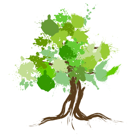 circles vector: vector tree design, environment - Greener World