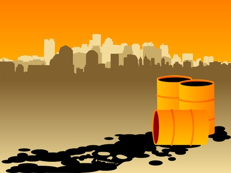 oil spill: Oil spill in the shape of a skull with a smoggy city in the background Illustration