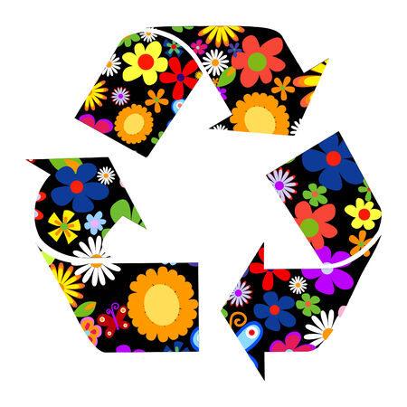 utilize: Recycle signs with flowers vector illustration