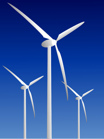 environmentalism: Wind power plants on blue background