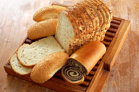 bakery products: assortment of baked bread and other bakery products