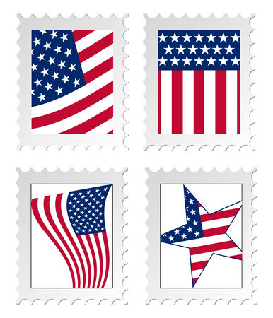 Illustration of post stamps with USA national flag
