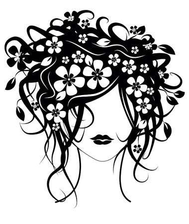 Hermosa niña con flores en el cabello ilustración vectorial