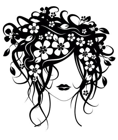 Schöne Mädchen mit Blumen im Haar Vektor-Illustration