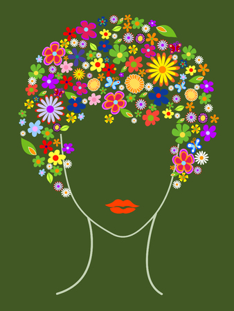 Beautiful girl with flowers in hair vector illustration Vector