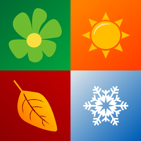 four seasons background fully editable vector illustration Vector