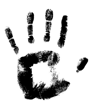 fingermark: Black Handprint on White fully editable vector illustration